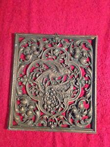 Altes Guss Metall Relief Bild Wandbild Motivbild Vogel Nest