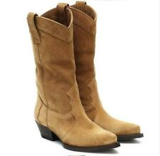 Women's Fashion Suede Leather Mid Heel Western Cowboy Mid Calf Boots Shoes SKGB