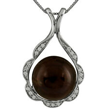 Sterling Silver rhodium plated pendant/chain with 14mm Black mabe pearl and CZ.