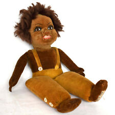 Rare! Norah Wellings 13.5 inch Black American, Velveteen Cloth Character Doll -