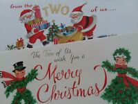 2 Vtg FROM The TWO of US Yarn DOLL Couple & SANTAS  60s CHRISTMAS GREETING CARDS