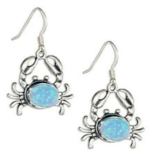 1 Pair Woman fashion 925 Silver Crab Blue Fire Opal Charm Earring Pendant NEW ~~