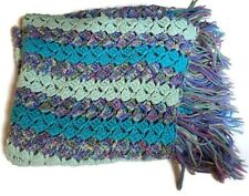 "Hand Crochet Throw Blanket Afghan 56""x36"" Striped Vintage Multi Color Fringe"