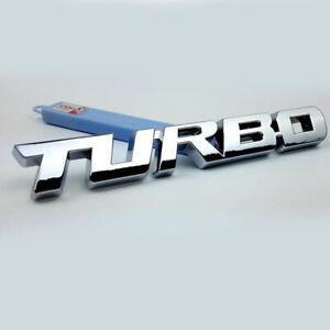 Silver 3D TURBO Word Letters Sports Sticker Metal Chrome Emblem Rear Trunk Badge