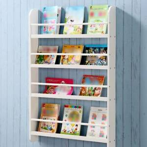 White Children Bookcase Kids Display Bookshelf Storage Unit Shelving WoodenRack