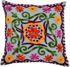 Suzani Embroidered Cushion Cover 16x16 Indian Vintage Decorative Throw Pillow