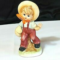 "Vintage Country Boy Porcelain Figurine  Japan 6-1/2"" Tall Preowned"