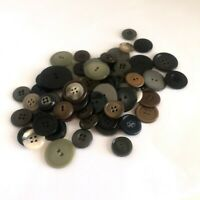 Lot of 65 Vintage Black Gray Craft Sewing Buttons