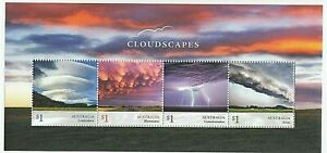 2018 AUSTRALIA MINI SHEET 'CLOUDSCAPES' MINT WITH STRIP of 4 x $1.00 MNH STAMPS