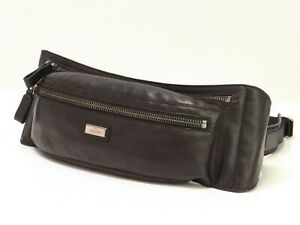 Auth VALENTINO GARAVANI Waist Pouch Bag Purse Leather Italy Funny pack 18598215