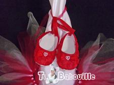 ballerines chaussures chaussons rouge bébé reborn taille 0 à 3 mois
