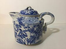 """Antique Chinese Porcelain Blue & White Handpainted Teapot, 6"""" Tall x 7 1/2"""" Wide"""