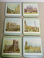"Coaster Set of 6 Vintage London Scenic Sights Laminated Plastic 4 1/8"" Square"