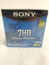 """NEW SONY 10 pk High Density 2HD Micro Floppy Disk 1.44 Mb 3.5"""" IBM Formatted"""