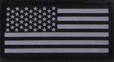 Black & Silver Reflective US Flag Patch Military Hook & Loop American Flag Patch