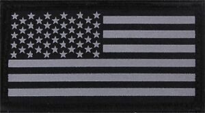 Reflective US Flag Patch Black & Silver Military Hook & Loop American USA