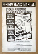 COLLEGE CONFIDENTIAL Mamie Van Doren STEVE ALLEN Jayne Meadows PRESSBOOK