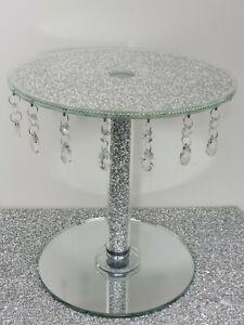 Silver Crystal Luxury Round Square Diamante Crush Diamond Cake Stand Platter UK