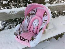 Personalized Camo Infant Car Seat Cover, Realtree Snow and Pink Minky