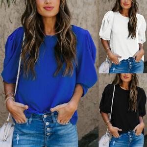 Women T-Shirt Summer Casual Tops Chiffon Blouse Ladies Puff Sleeve Plain UK 6-18