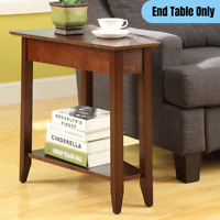 Wooden Wedge Shape End Table Living Room Sofa Side Accent Display Storage Brown