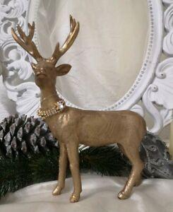 Reno Alce Ciervo de Pie Oro Navidad Shabby Vintage Decoración