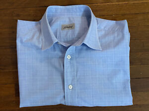 Brioni Sky Blue And White Check Formal Shirt Essential L 16.5 42 Large