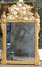 Miroir époque Louis XVI Bois Sculpté Doré Feuille, Attributs Jardinier, XVIII em