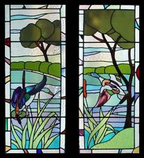 Special & Rare Art Deco Flight Of The Ducks In Forest Pair Stained Glass Windows