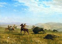 "Albert Bierstadt, The Wild West, Buffalo, cowboy, hunting, antique art, 20""x14"""