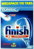 FINISH CLASSIC LEMON MEGA TABS 110 PACK TABLETS POWERBALL DISHWASHING DISHWASHER