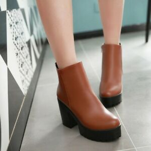 Womens PU Leather Round Toe Zip Ankle Boots Platform Block High Heels Shoes Size