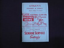 Clyde v Arbroath Vintage 1959 Football Programme