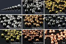 INWARIA Metallperlen 2/3/4/5/6/7/8/10/12/14 mm Großlochperlen Perlen Kugel, S2