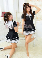 Fashion Japanese Japan School Girl Sailor Uniform Dress Maid Cosplay Costume WB