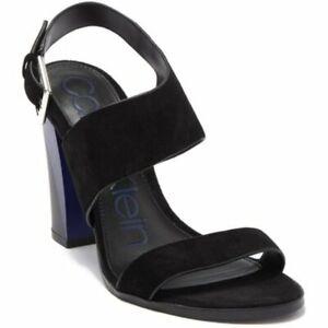 Calvin Klein Womens Black Blue Carina Block Heeled Open Toe Sandals Sz 9 NIB