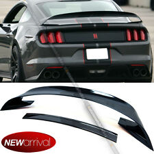Fit 15-17 Mustang ABS Glossy Black GT350R Style Rear Trunk Wing w/ Lower Spoiler