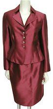 Talbots Burgundry Red Suit Sz 4 Blazer Jacket + Skirt Set Sheen Silk Blend S MoB