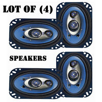 "Lot of (4) Pyle PL463BL 4"" X 6"" 240 Watts 3-Way Triaxial Speaker Systems, 4 Ohms"