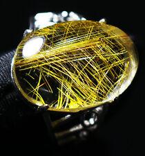 beautiful straight Golden Rutilated Quartz Crystal Adjustable Ring  27.5ct