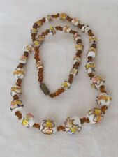 Vintage Glass Bead Necklace Gold Gilt Milk Glass White Painted Graduated