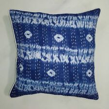 Tie Dye Shibori Kantha Cotton Handmade 5 PC Cushion Cover Boho Indigo Blue Throw