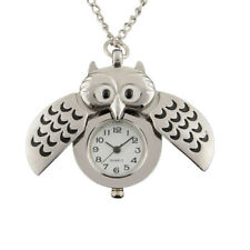 Silver Plated Owl Chic Pocket Watch Pendant Quartz Necklace Watches Gift^