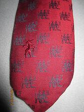 Vintage Bronzini 100% silk tie, red with navy blue Gemini zodiac print