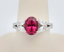 BRAND NEW Exquisite Oval Rubelite Tourmaline and Diamond Ring