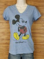 Disney Parks Blue V-Neck Mickey Mouse T-Shirt Womens Size Small S