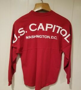 US Capitol Washington DC Spirit Jersey Shirt USA Made Long Sleeve Red