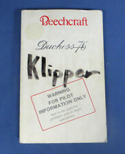 Beechcraft Duchess 76 Pilot's Information Manual Booklet