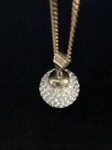 Schöner Anhänger mit Kette 333 Gold  Kugel Zirkonia Besatz Halskette FBM