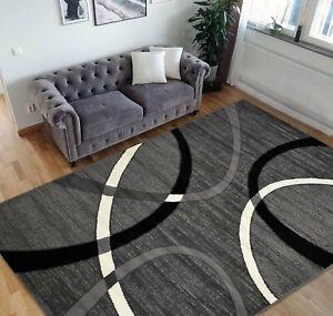 Geometric Stripes Area Rug 5x7 Oval Pattern Modern Black Grey 8x10 Rugs & Carpet